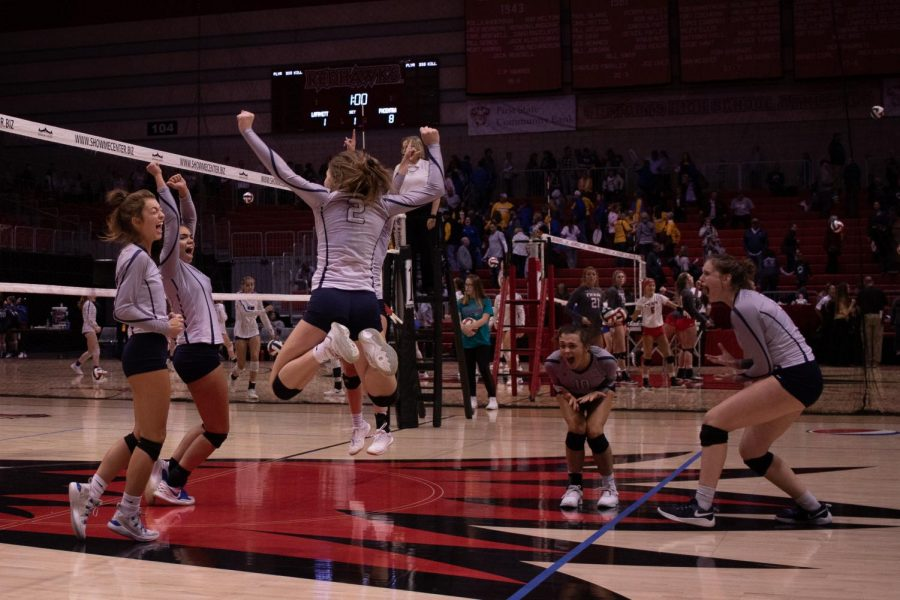 The team celebrates together during the first set against Lafayette, where the team jumped out to a quick lead that it wound up being unable to hold on to. The Lady Spartans would fall to the Lancers, rounding out their first day at the state tournament winless in six sets.