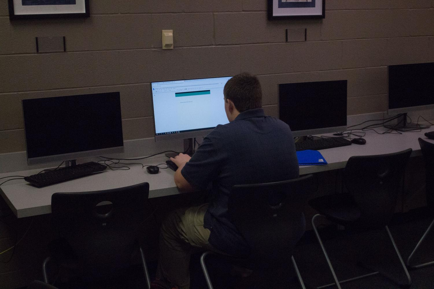 A student uses a library computer to complete an assignment. Library computers are a vital resource to students.