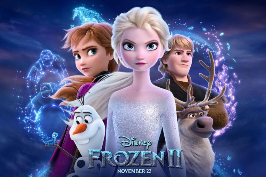 The main characters from Frozen are shown in front of the Frozen 2 logo.