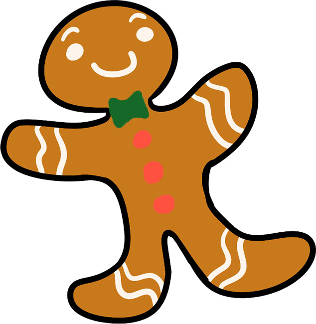 A gingerbread man cookie, you can find a recipe for your own in this story!