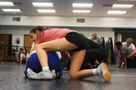 freshman Sophia Miller was one of three girls to compete against Timberland High School. Here she can be seen putting in the hours required to succeed in matches like the one they had on Tuesday.
