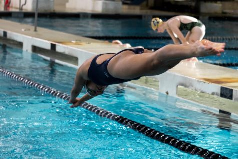 Freshman Xime Avila dives at the senior night meet on Monday, January 27. Senior Night celebrates the team's seniors and their time on the team.
