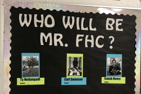 Student Council put up this bulletin board featuring some of the contestants. Contestants Ty Nedungadi, Carl Swanson, and Isaiah Henry provided their own pictures to woo the judges.