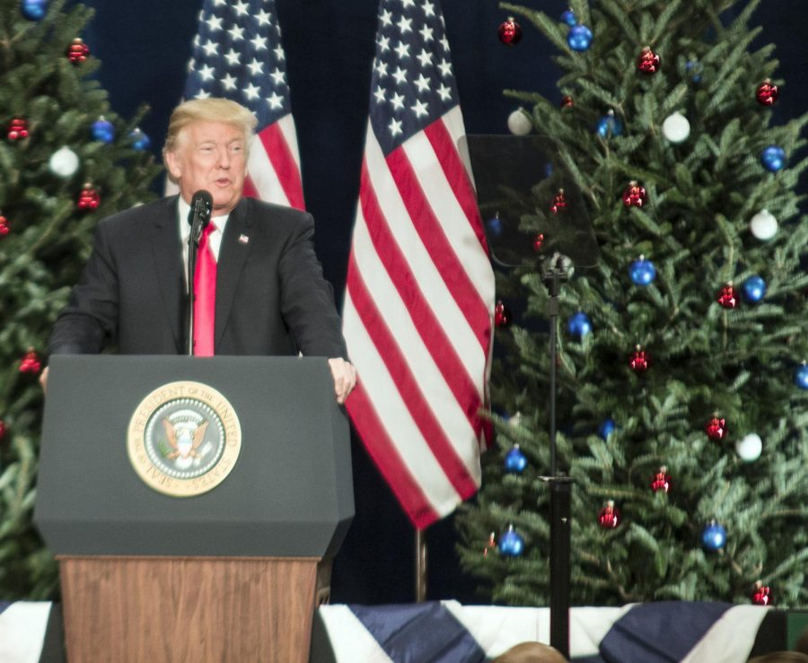 President Trump delivering a speech in St. Charles in March of 2018.