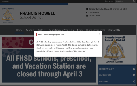 A banner across the FHSD website describes the suspension of school and activities across the district