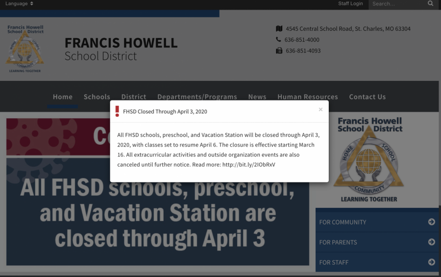 A+banner+across+the+FHSD+website+describes+the+suspension+of+school+and+activities+across+the+district+