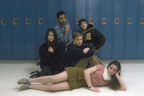 The iconic photo of The Breakfast Club is recreated by staff members.