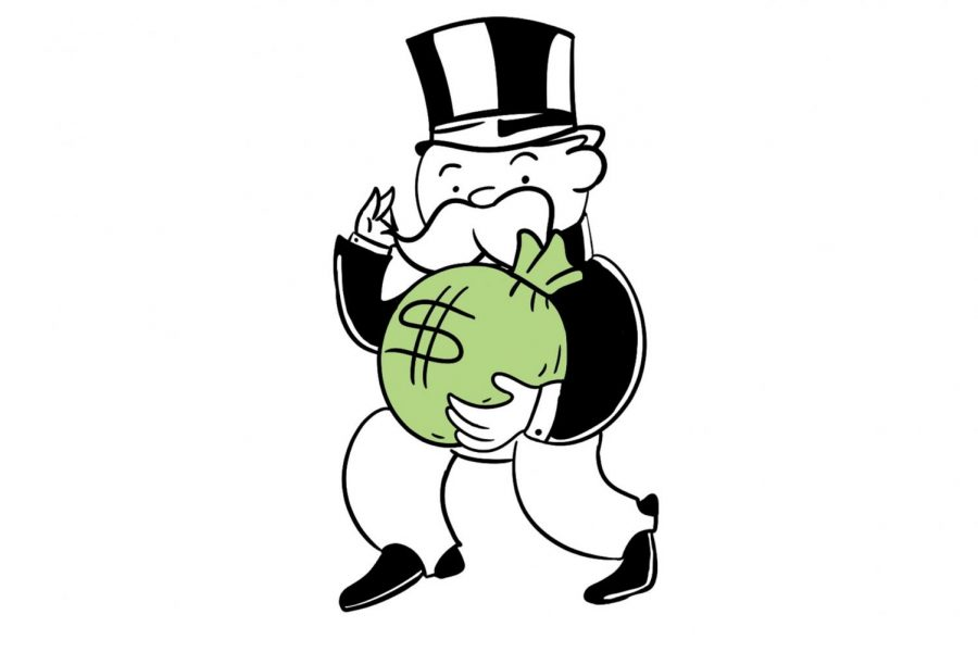 """""""Mr. Moneybags"""" greedily grasps a bag of cash. Similarly, the College Board takes as much money from students as possible, doing everything from overcharging students in the first place to instituting fees for students who don't have the financial resources to pay for exams in November."""