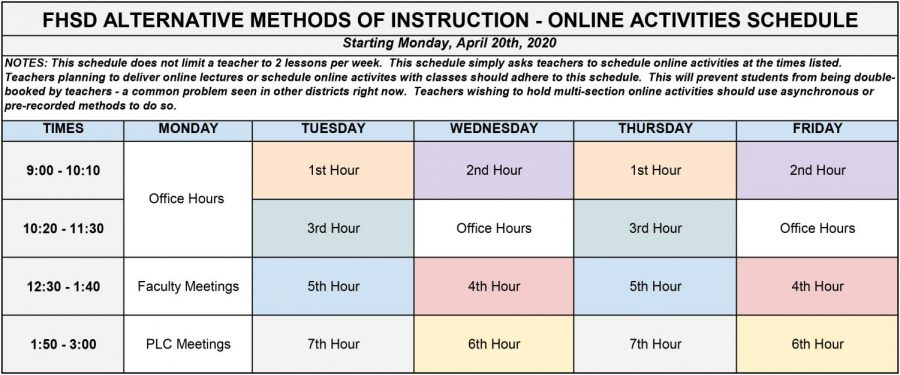 The new schedule for FHSD, effective April 20.