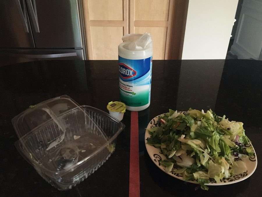 Separate a space into a clean and dirty side. Use disinfecting wipes to clean containers and avoid contamination.
