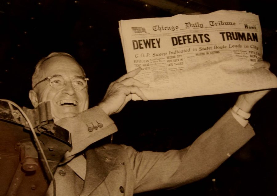 President Harry S. Truman triumphantly displays the front page of the Chicago Daily Tribune after his presidential victory. Clearly, even seemingly credible sources of information have their faults.