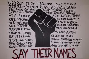 "A poster with names of Black people killed by the police and a Black power fist, captioned ""say their names."" Signs such as this have been used at protests to express dissatisfaction with police brutality and systemic racism in the justice system."