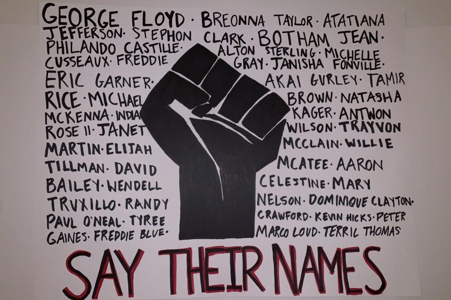 A+poster+with+names+of+Black+people+killed+by+the+police+and+a+Black+power+fist%2C+captioned+%E2%80%9Csay+their+names.%E2%80%9D+Signs+such+as+this+have+been+used+at+protests+to+express+dissatisfaction+with+police+brutality+and+systemic+racism+in+the+justice+system.