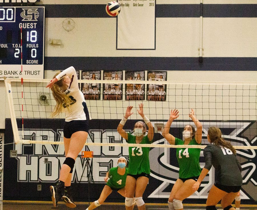 Faith Rekosh about to score another point for the Spartans.