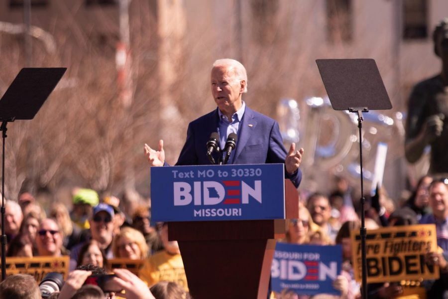 Biden speaking at a rally in Missouri, pre-covid. Biden is currently the president-elect.
