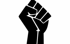 A black fist is held up, representing the Black Lives Matter Movement. Since its founding, the fist has been one of its symbols.