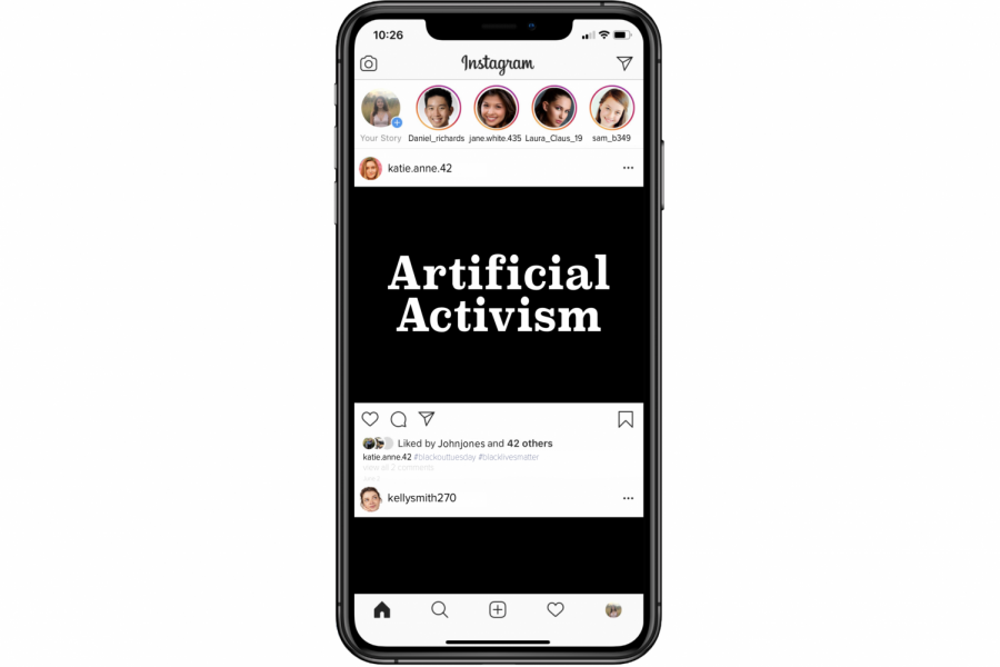 An IPhone displays an Instagram feed from June 2, 2020-- Blackout Tuesday. Supporters of the Black Lives Matter movement posted black squares to show their solidarity for Black people in a time of racial injustice.