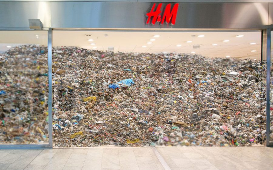 The storefront of H&M is filled to the brim with trash. As people contribute to largely fast fashion businesses they are equally contributing to the build up of waste in the world.