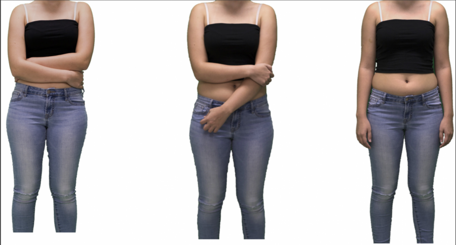 Elisa Carter stands, at first covering her midriff and eventually embracing it. As Carter has learned to reject beauty standards, she has grown more comfortable with her body.