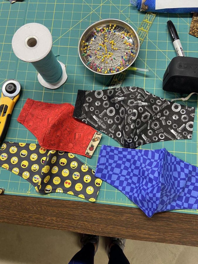 Harmaan's workspace shows off just a few of the masks she's made. Masks are one of the most vital necessities to keep oneself and others safe during this pandemic.