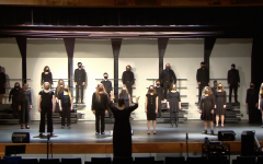 In order to keep choir members and spectators healthy, singers were spaced out and the amount of viewers was limited to two per student. These safety precautions allowed the choir to finally show off the skills they have been building this semester. Photo courtesy OF FHC Choir