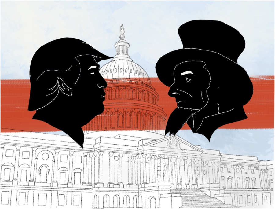Donald Trump faces off with Uncle Sam as the Capitol building serves as their ring. The fight to maintain democracy persists after the attack on the Capitol.