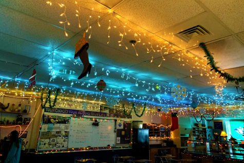 Garlands, lights, and baubles occupy the ceiling of science teacher Mr. Scott Thorpe