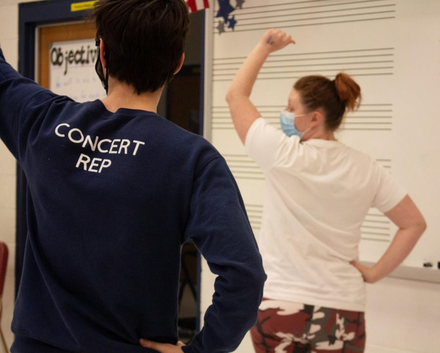 Macey McCormack teaching Elliott Jenner the choreography.