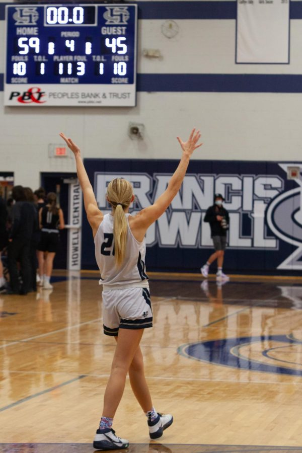 Senior Sofia Tweedie celebrating after the game's final seconds