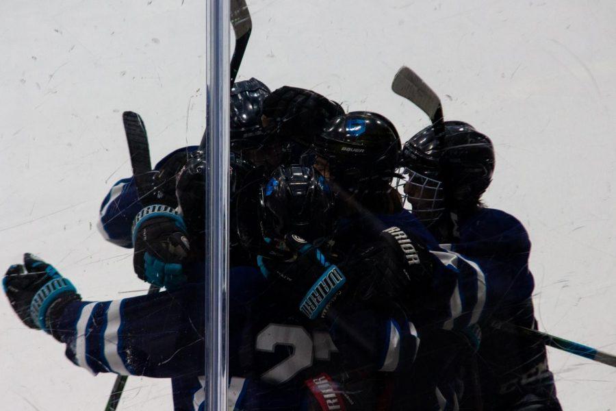 Team celebrating their goal.