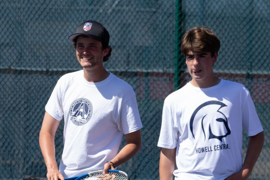 Doubles partners Tanner Jones and Konnor Eslinger smile as their match comes to an end.
