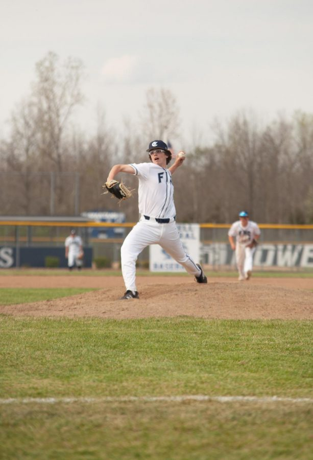 Sophomore Lane Harris mid-pitch