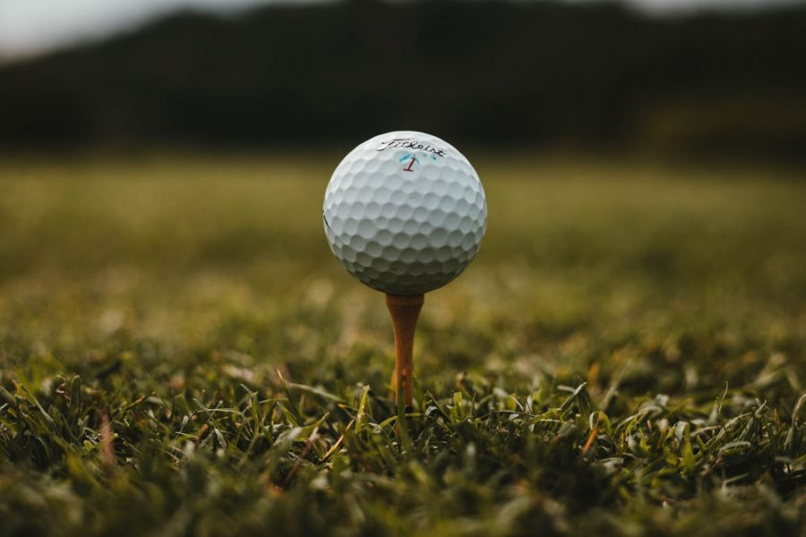 The faceted ball sits peacefully atop the tee. Maintaining a focused composure is essential to good golfing.