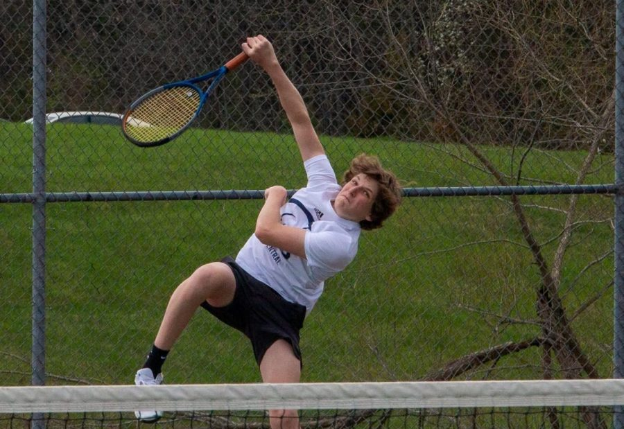 Junior Drew Black hits a tennis ball with a racket. The drive he possesses is equal to the of the rest of the team. This is what has allowed them to rebound so successfully.