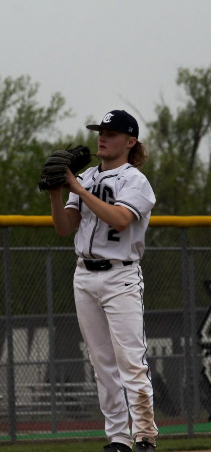 Junior Clayton Ello waiting for the right moment to pitch.