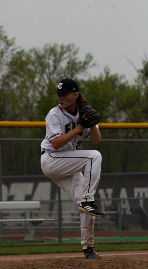 Junior Clayton Ello starting up his first pitch.