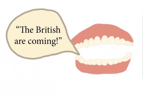"""TALKING TEETH: A pair of dentures shouts, """"the British are coming!"""" referring to Paul revere"""