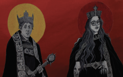Paintings of Luke Morrison and Zoe Michals as the characters they were are immortalized on Mrs. Shockley's ceiling. To commemerate the class' experience performing Macbeth seniors Ella Yawitz, Paige Fann, and Jessica Hiegel painted a ceiling tile of the stars of the play.
