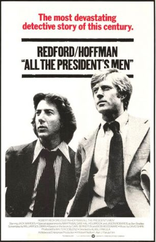 Woodward and Bernstein, played by Robert Redford and Dustin Hoffman, pose for a movie poster. Throughout the film, the dynamic duo shows their immense dedication and tenacity.
