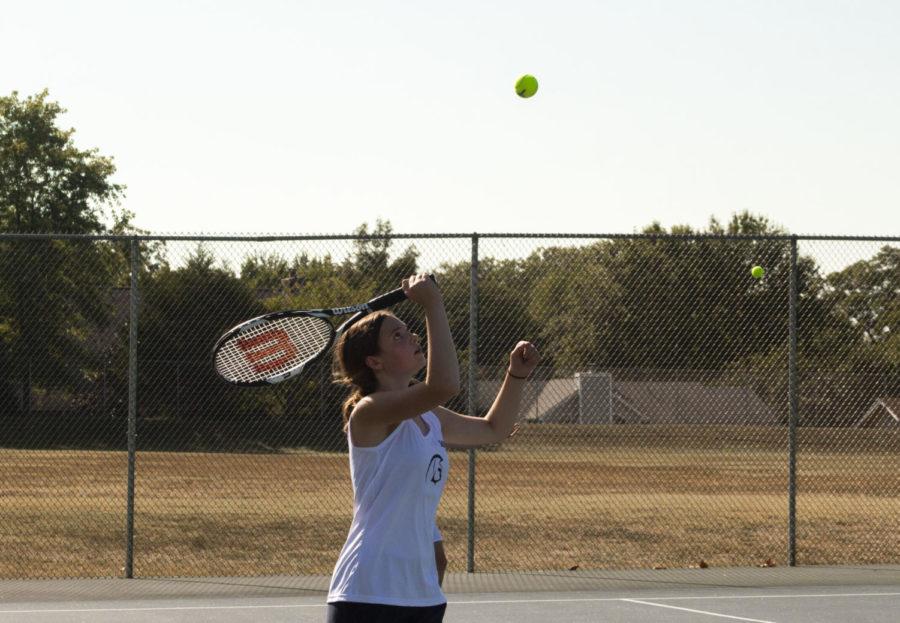 Sophomore Kate Baranowski serves the ball.