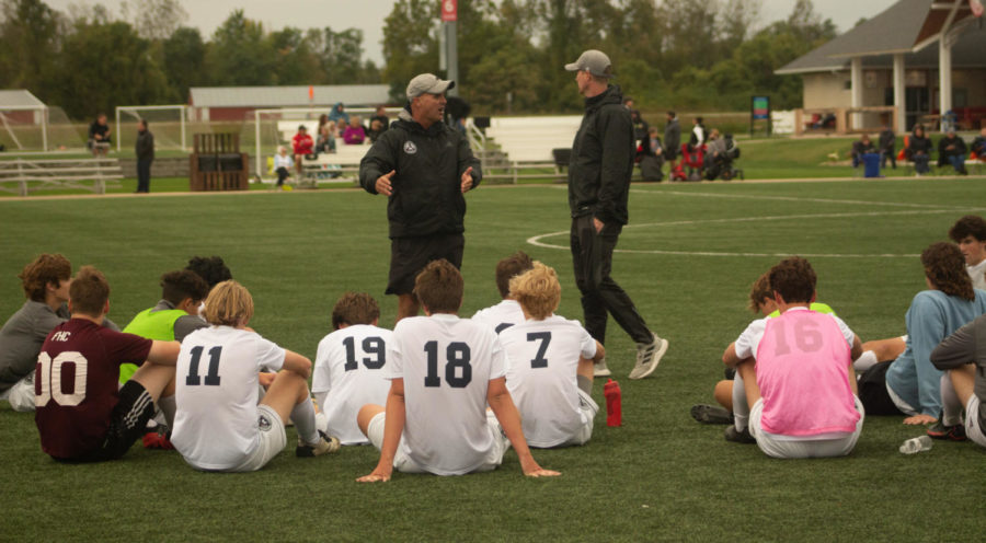 Coach Phillips talks to the team.