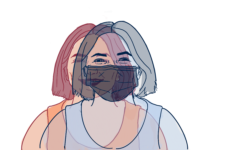 An illustration of a student wearing a mask and not wearing a mask overlaps each other. As students transition to not wearing masks, there is an added challenge of recognizing faces because last year only their eyes were visible.